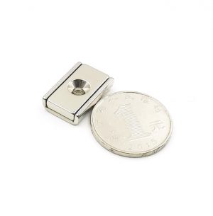Strong Neodymium Rectangular Pot Magnet 20x13.5x5mm with Counterbore, Countersunk Hole