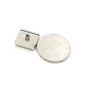 Strong Neodymium Rectangular Pot Magnets 15x13.5x5mm with Counterbore, Countersunk Hole