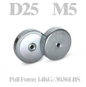Neodymium cup magnet Ø 25 x 7.7 mm, internal thread M5