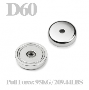 Neodymium cup magnet Ø 60 x 15 mm with counterbore hole
