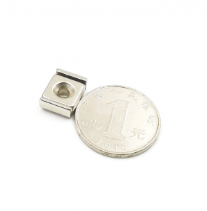 Strong Neodymium Rectangular Pot Magnets 10x13.5x5mm with Counterbore, Countersunk Hole