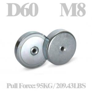 Neodymium cup magnet Ø 60 x 15 mm, internal thread M8