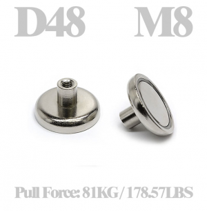 Cup magnet Ø 48 x 24 mm, with M8 Female threaded stud