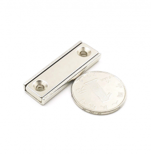 Strong Neodymium Rectangular Pot Magnets 40x13.5x5mm with Counterbore, Countersunk Hole