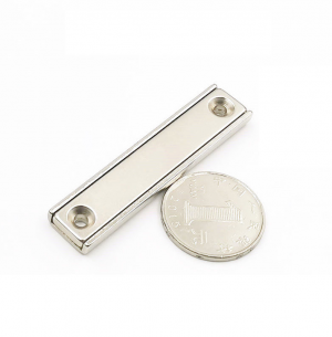 Strong Neodymium Rectangular Pot Magnets 60x13.5x5mm with Counterbore, Countersunk Hole