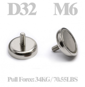 Cup magnet Ø 32 x 18 mm, with M6 Male threaded stud