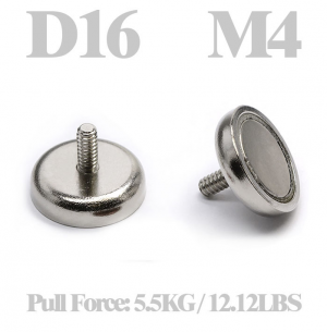 Cup magnet Ø 16 x 14 mm, with M4 Male threaded stud