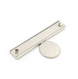 Strong Neodymium Rectangular Pot Magnets 80x13.5x5mm with Counterbore, Countersunk Hole