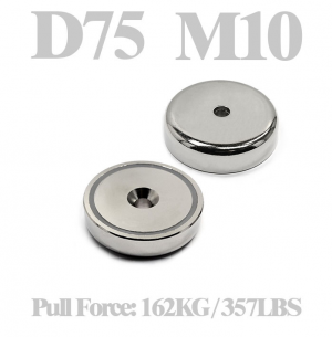 Neodymium cup magnet Ø 75 x 17.8 mm with countersunk hole