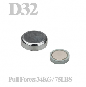 Flat cup magnet Ø 32 x 7.8 mm,  without screw hole