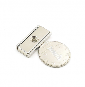 Strong Neodymium Rectangular Pot Magnets 30x13.5x5mm with Counterbore, Countersunk Hole