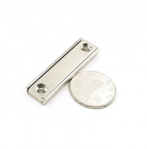 Strong Neodymium Rectangular Pot Magnets 50x13.5x5mm with Counterbore, Countersunk Hole